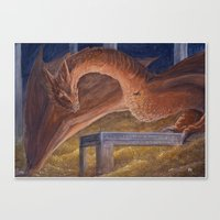 smaug Canvas Prints featuring Smaug by Penny-Dragon
