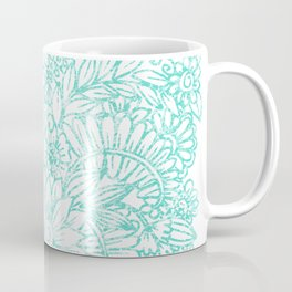 Artistic teal white hand painted floral pattern Coffee Mug