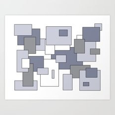 Squares - gray, purple and white. Art Print