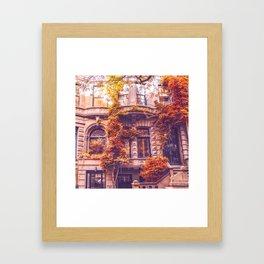 Dressed Up in Autumn - New York City Brownstones Framed Art Print