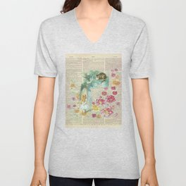 Vintage Floral Alice In Wonderland Unisex V-Neck