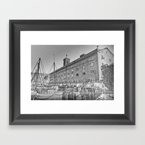 St Katherine's Dock London sketch Framed Art Print