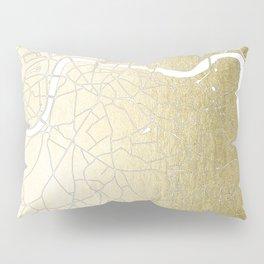 Gold on White London Street Map II Pillow Sham