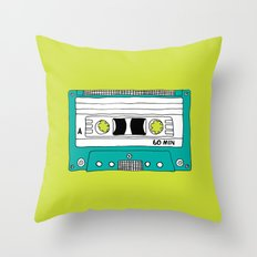 Cassette Tape // lime green and turquoise // large Throw Pillow