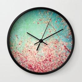 Blue Autumn, Pink leafs on blue, turquoise, green, aqua sky Wall Clock
