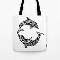 dolphins Tote Bags featuring Dolphins by Emma Barker