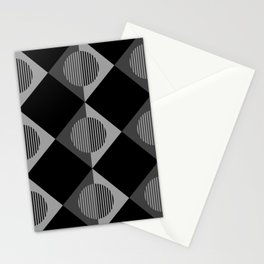 Black & White Geometric Moons & Triangles Stationery Cards