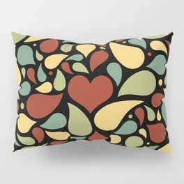 Heart surrounded by drops black pattern Pillow Sham