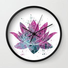 Lotus Flower Watercolor Wall Clock