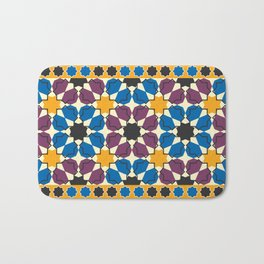Moroccan seamless pattern, Morocco. Patchwork mosaic with traditional folk geometric ornament Bath Mat