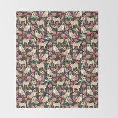 Pugs of spring floral pug dog cute pattern print florals flower garden nature dog park dog person  Throw Blanket
