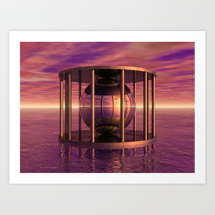 Metal Cage Floating In Water Art Print