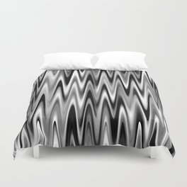 WAVY #1 (Black, White & Grays) Duvet Cover