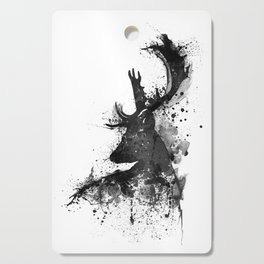 Deer Head Watercolor Silhouette - Black and White Cutting Board