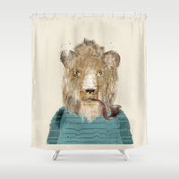 jeep Shower Curtains featuring jeep the lion by bri.buckley