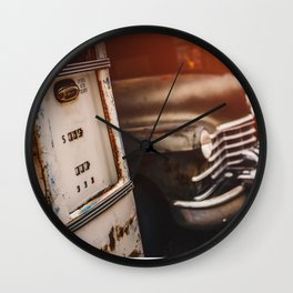 Old american abandoned gas station Wall Clock