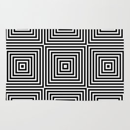 Square Optical Illusion Black And White Rug
