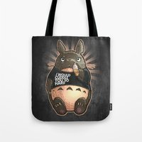 cuddle Tote Bags featuring CUDDLE MONSTER by Tim Shumate