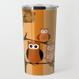 Orange Owls Travel Mug