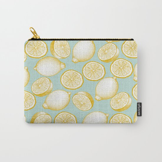 Lemons On Turquoise Background Carry-All Pouch
