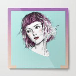 Pink Ombre Hair Metal Print