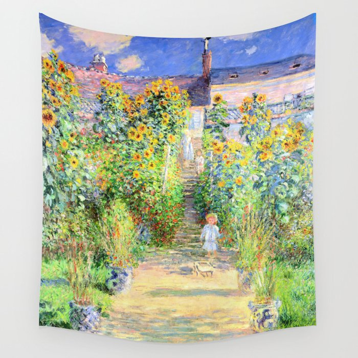 Monets Garden At Vetheuil Wall Tapestry