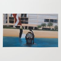 scuba Area & Throw Rugs featuring Scuba Diving by MucklowArt