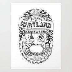 Maryland Crabs & Beer Art Print