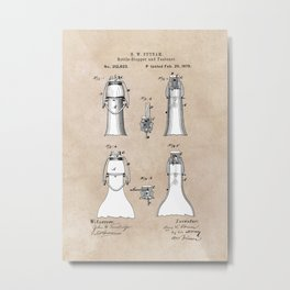 patent Putnam Bottle Stopper and Fastener Metal Print