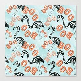 Boo Halloween Flamingo Skeleton Canvas Print