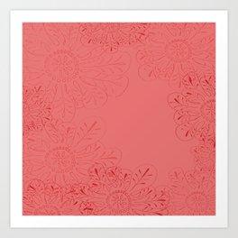 Salmon Flowers Art Print