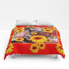Chinese Red-Yellow Sunflowers Rose Garden Pattrn Comforters