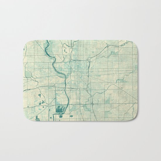 Indianapolis Map Blue Vintage Bath Mat