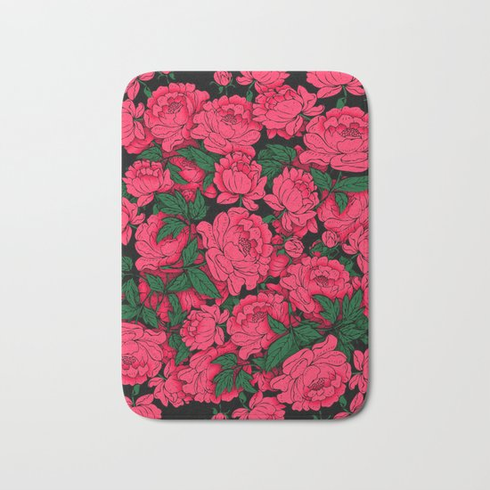 Red Peonies Bath Mat