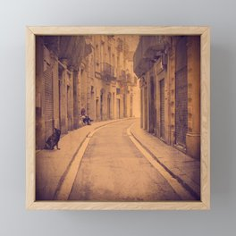 The dog in the narrow street of Barcelona Framed Mini Art Print