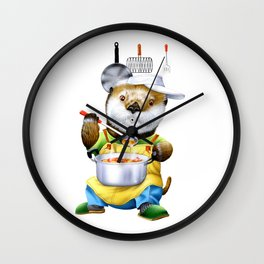 A sea otter cooking Wall Clock