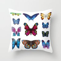 butterflies Throw Pillows featuring Butterflies by Katerina Izotova Art Lab