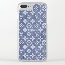 supreme lv grey Clear iPhone Case