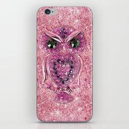 Cute Pink Owl, glitter pink heart diamond photo print iPhone Skin