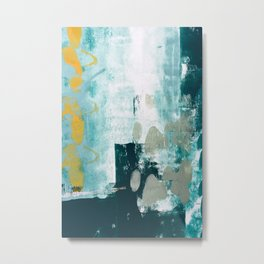 023.2: a vibrant abstract design in teal green and yellow by Alyssa Hamilton Art  Metal Print