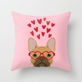 French Bulldog head valentines day love hearts dog breed frenchies Throw Pillow