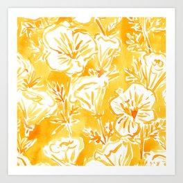 CALI POP Yellow California Poppies Art Print