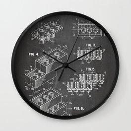 Legos Patent - Legos Brick Art - Black Chalkboard Wall Clock