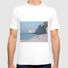 Beach at Etretat, France Mens Fitted Tee MEDIUM White