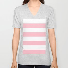 Wide Horizontal Stripes - White and Pink Unisex V-Neck
