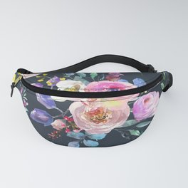 Colorful Watercolors Flowers Pattern Fanny Pack