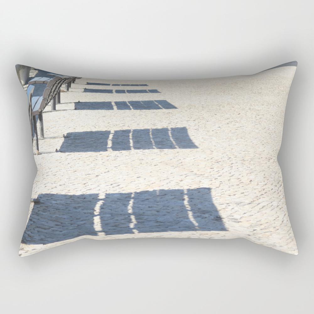 Shadows Of Empty Benches Rectangular Pillow RPW7991183