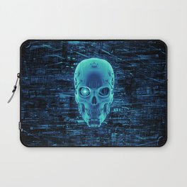 Gamer Skull BLUE TECH / 3D render of cyborg head Laptop Sleeve