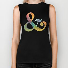 ampersand - in watercolor rainbow Biker Tank