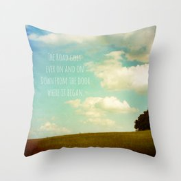 the road goes ever on Throw Pillow